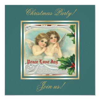 Ángeles del navidad del vintage y invitación santa
