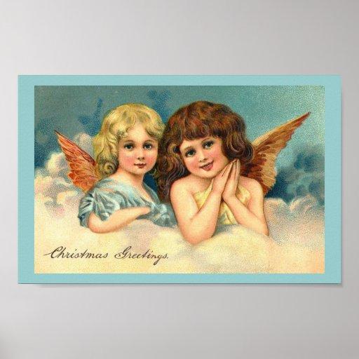 Ángeles del navidad - poster del arte del vintage
