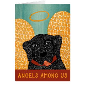 Ángeles del negro del perro del ángel entre nosotr tarjeta de felicitación