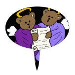 Ángeles del oso de peluche del canto en trajes púr figuras para tartas