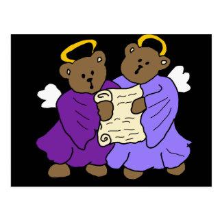 Ángeles del oso de peluche del canto en trajes púr postal