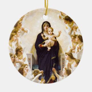 Ángeles del reino de la gloria adorno redondo de cerámica