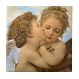 Ángeles del Victorian del vintage, primer beso por Azulejo Cuadrado Pequeño
