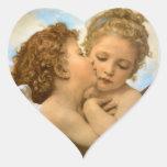 Ángeles del Victorian del vintage, primer beso por Pegatina En Forma De Corazón