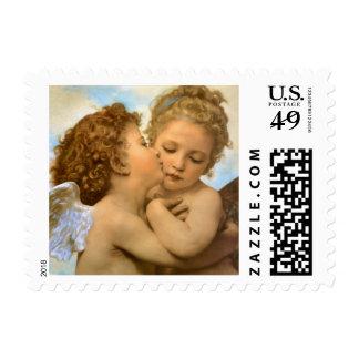 Ángeles del Victorian del vintage, primer beso por Timbre Postal