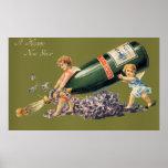 Ángeles del vintage con Champán; Una Feliz Año Poster