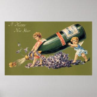 Ángeles del vintage con Champán; Una Feliz Año Póster