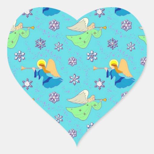 Ángeles en azul - copos de nieve y trompetas pegatina en forma de corazón