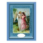 Ángeles en el jardín tarjeta postal