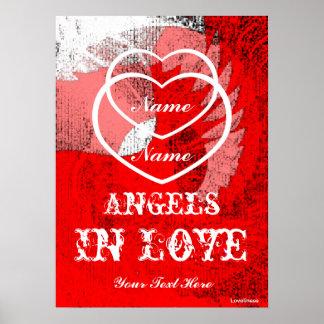 Ángeles en el tri poster coloreado del amor - pers
