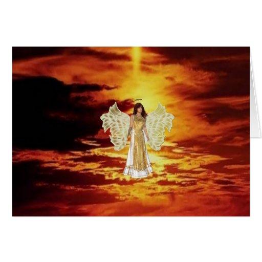 Ángeles en la tarjeta de felicitación del cielo