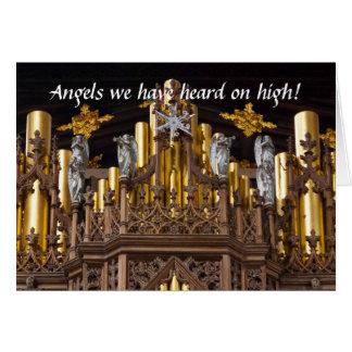 Ángeles en tarjeta de Navidad del órgano de