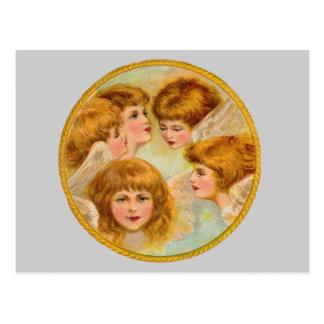 Ángeles en un círculo del anillo de oro tarjetas postales