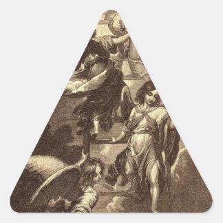 Ángeles en una escalera celestial pegatina triangular