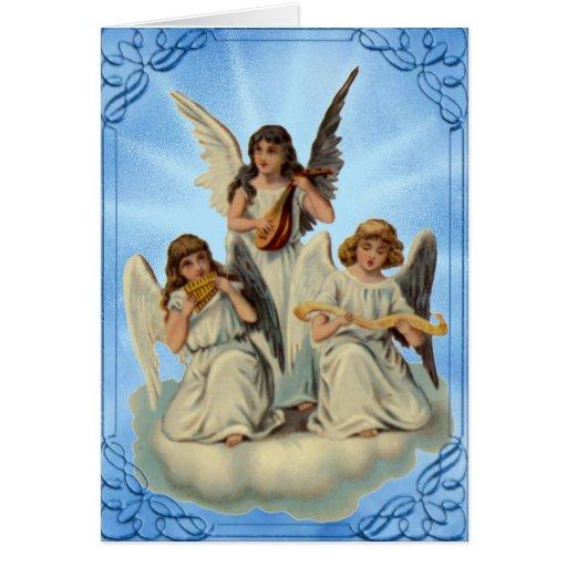 Ángeles en una tarjeta de pascua de la nube