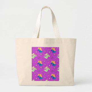 Ángeles en violeta - copos de nieve y trompetas bolsa tela grande