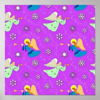 Ángeles en violeta - copos de nieve y trompetas poster