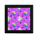 Ángeles en violeta - ornamentos y trompetas caja de recuerdo