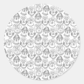 ángeles monocromáticos del canto en el fondo blanc pegatinas redondas