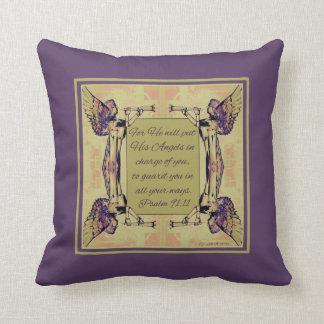Ángeles para vigilar usted colores verdes púrpuras almohada
