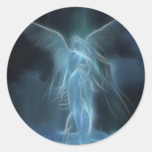 ángeles pegatina redonda