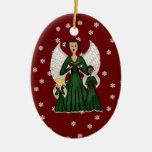 Ángeles que cantan los villancicos (verde) ornaments para arbol de navidad