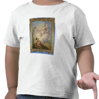 Ángeles que juegan con un pájaro en un paisaje camisetas