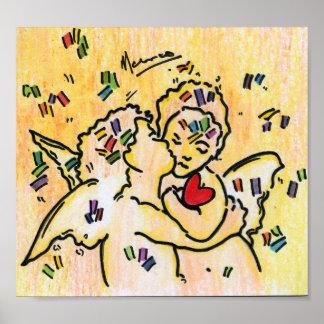 ángeles que se besan 60s con los posters del vinta