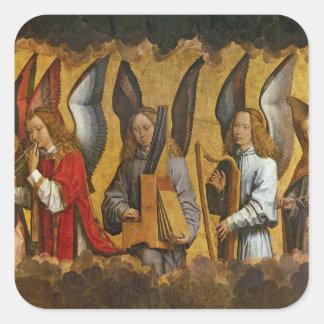 Ángeles que tocan los instrumentos musicales pegatina cuadrada