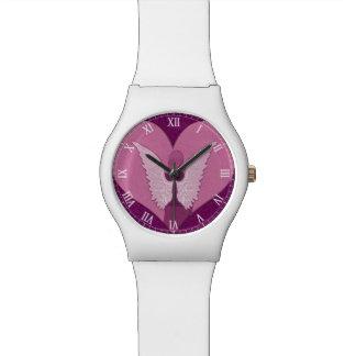 Ángeles rosados con el corazón relojes de mano