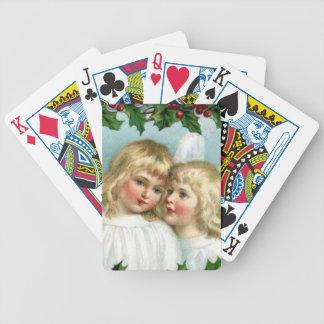 Ángeles y acebo del vintage del navidad cartas de juego