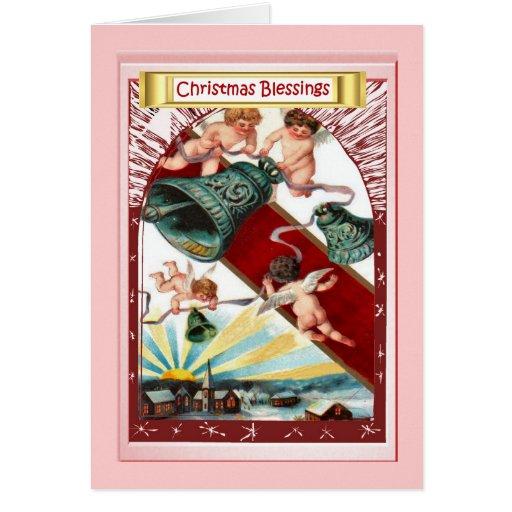 Ángeles y campanas tarjeta de felicitación