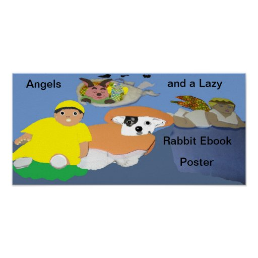 Ángeles y un poster perezoso de Ebook del conejo