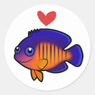 Angelfish 1 Love Classic Round Sticker