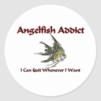 Angelfish Addict Round Sticker