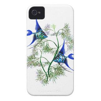 Angelfish azul en plantas Case-Mate iPhone 4 protector