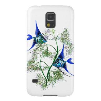 Angelfish azul en plantas carcasa para galaxy s5