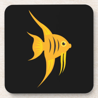 AngelFish bold and beautiful on black Drink Coaster