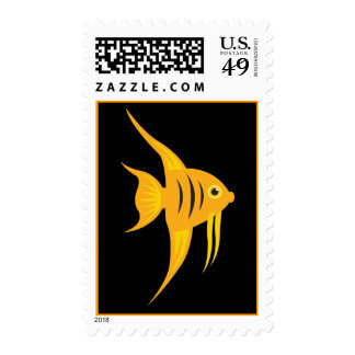 Angelfish_Bold and Beautiful on Black Stamp