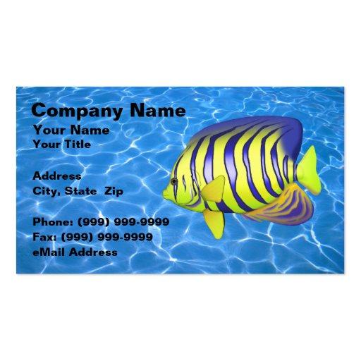 Angelfish contra el agua azul clara tarjetas de visita