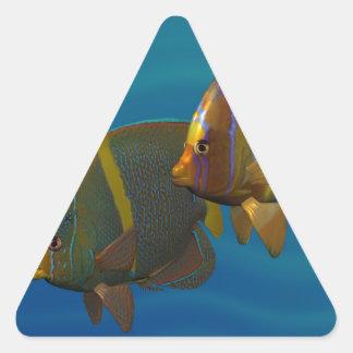 Angelfish de la natación pegatina triangular