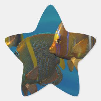Angelfish de la natación calcomanías forma de estrella