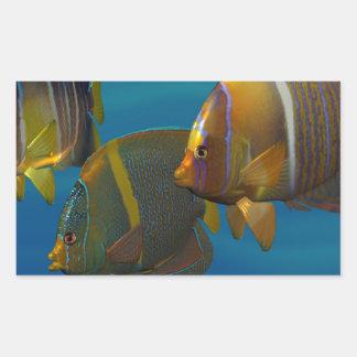 Angelfish de la natación pegatina rectangular