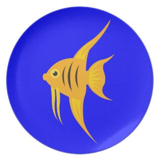 AngelFish en el mar azul profundo Plato De Comida