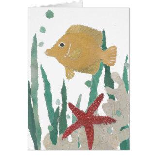 Angelfish, estrella de mar, océano tropical tarjeta de felicitación