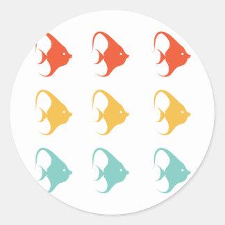 Angelfish Fish Cichlids Pterophyllum Ocean Animal Classic Round Sticker
