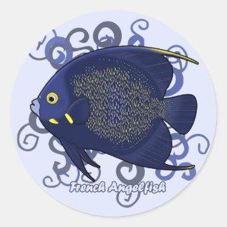 Angelfish francés pegatina redonda