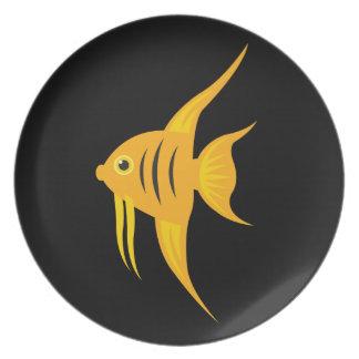 AngelFish intrépido y hermoso en negro Platos De Comidas