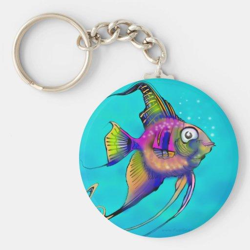 Angelfish Llavero Redondo Tipo Pin