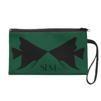 Angelfish negro del monograma en verde